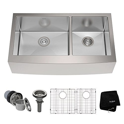 Kraus KHF203 36 36 Inch Farmhouse Apron 6040 Double Bowl 16 Gauge Stainless Steel Kitchen Sink 0