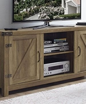 New 58 Inch Barn Door Television Stand In Rustic Oak Finish 0 300x360