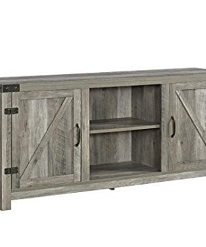 New 58 Inch Wide Barn Door Television Stand In Grey Wash Finish 0 300x360