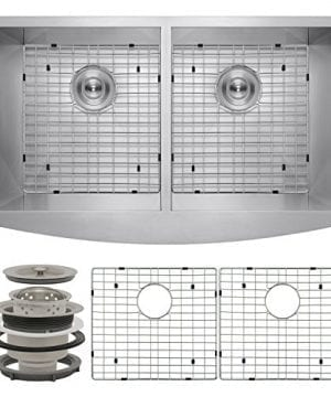 Perfetto Kitchen And Bath 33 X 20 X 9 Apron Undermount 5050 Double Bowl 18 Gauge Stainless Steel Kitchen Sink With Drain And Dish Grid 0 300x360