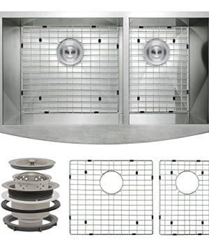 Perfetto Kitchen And Bath 33 X 20 X 9 Apron Undermount 6040 Double Bowl 18 Gauge Stainless Steel Kitchen Sink With Drain And Dish Grid 0 300x360
