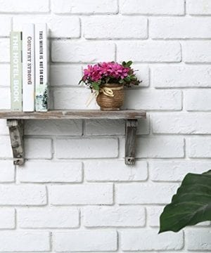 Rustic Torched Wood Wall Mounted Storage Display Shelves With Wooden Brackets Set Of 2 0 1 300x360