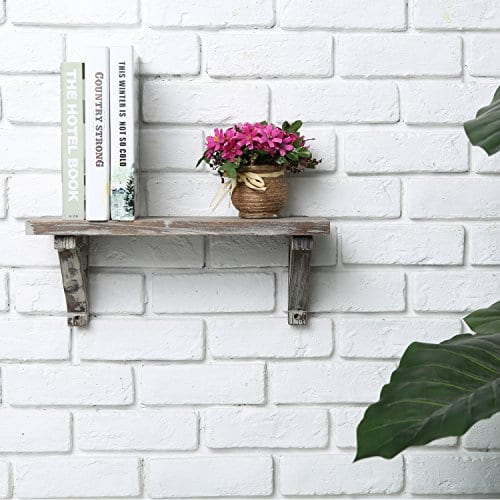 Rustic Torched Wood Wall Mounted Storage Display Shelves With Wooden Brackets Set Of 2 0 1