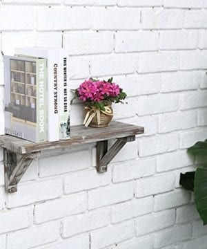 Rustic Torched Wood Wall Mounted Storage Display Shelves With Wooden Brackets Set Of 2 0 2 300x360