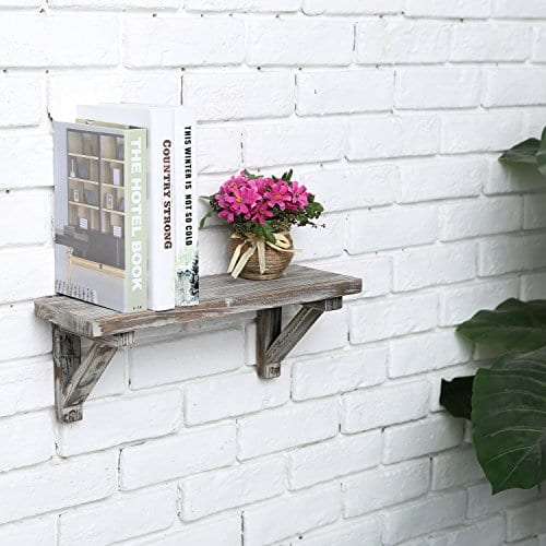 Rustic Torched Wood Wall Mounted Storage Display Shelves With Wooden Brackets Set Of 2 0 2