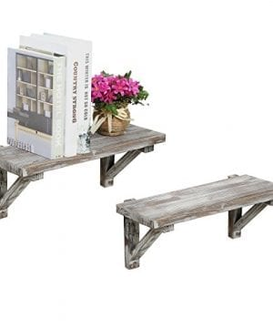 Rustic Torched Wood Wall Mounted Storage Display Shelves With Wooden Brackets Set Of 2 0 300x360