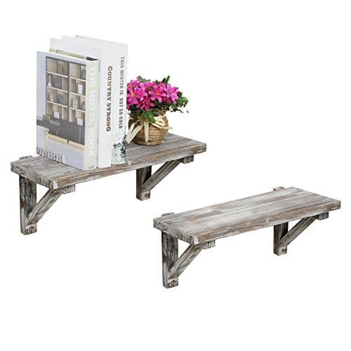 Rustic Torched Wood Wall Mounted Storage Display Shelves With Wooden Brackets Set Of 2 0