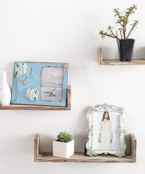 Wall Mounted Torched Wood U Shaped Floating Shelves Set Of 3 Dark Brown 0 0 300x360