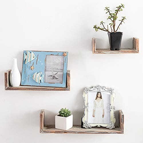 Wall Mounted Torched Wood U Shaped Floating Shelves Set Of 3 Dark Brown 0 0
