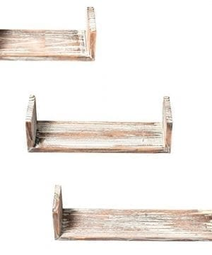 Wall Mounted Torched Wood U Shaped Floating Shelves Set Of 3 Dark Brown 0 1 300x360