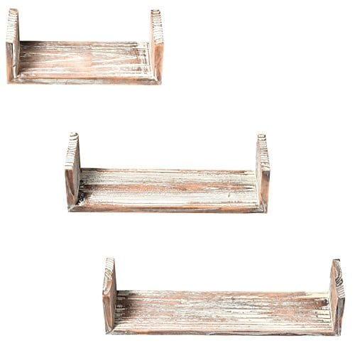 Wall Mounted Torched Wood U Shaped Floating Shelves Set Of 3 Dark Brown 0 1