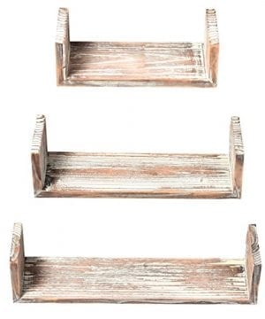 Wall Mounted Torched Wood U Shaped Floating Shelves Set Of 3 Dark Brown 0 2 300x360