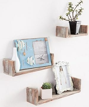 Wall Mounted Torched Wood U Shaped Floating Shelves Set Of 3 Dark Brown 0 300x360