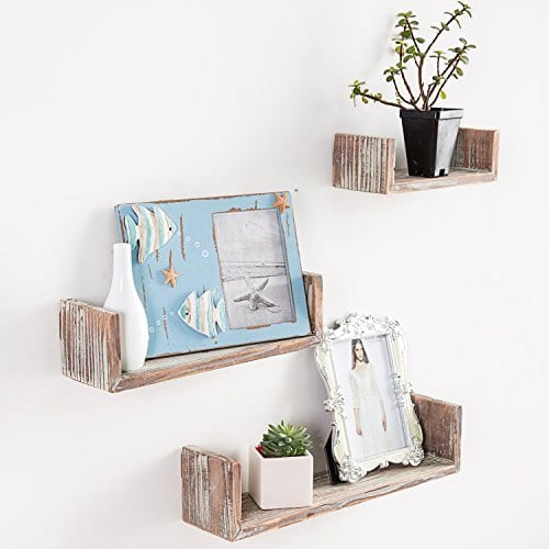 Wall Mounted Torched Wood U Shaped Floating Shelves Set Of 3 Dark Brown 0