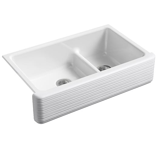 kohler 36 inch double bowl whitehaven hayridge white sink