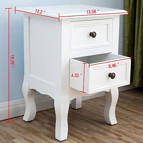 2 X White Nightstand Set 2 Bedside End Table Pair Shabby Chick Bedroom Furniture 0 0