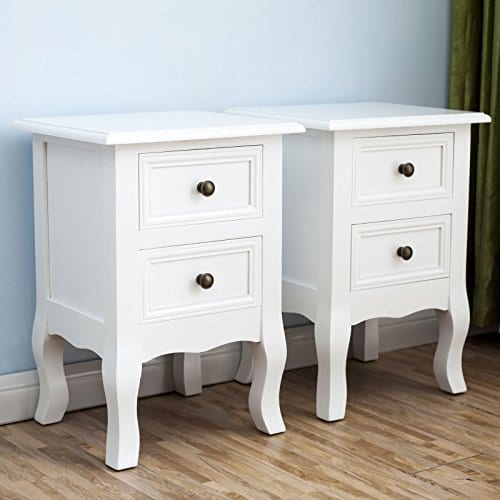 2 X White Nightstand Set 2 Bedside End Table Pair Shabby Chick Bedroom Furniture 0 1