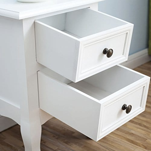 2 X White Nightstand Set 2 Bedside End Table Pair Shabby Chick Bedroom Furniture 0 2