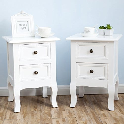 2 X White Nightstand Set 2 Bedside End Table Pair Shabby Chick Bedroom Furniture 0