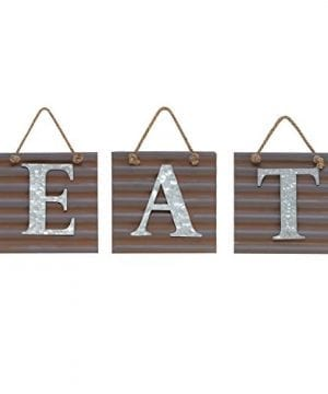 Barnyard Designs Eat Galvanized Metal Letter Tile Wall Sign Primitive Country Rustic Kitchen Farmhouse Home Decor Sign 28 X 10 By 0 300x360