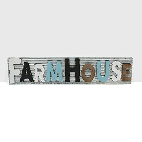 Barnyard Designs Large Vintage Wooden Cutout Farmhouse Sign With Galvanized Metal Backing Primitive Country Home Decor Comes With Rope For Easy