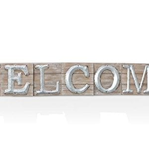Barnyard Designs Large Vintage Wooden Welcome Sign With Galvanized Metal Lettering Primitive Country Home Decor Built In Brackets For Hanging 47 X 675 X 15 0 300x324