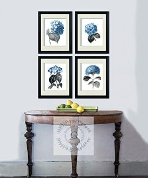 Blue Flowers Botanical Prints Set Of 4 Unframed Hydrangeas Botanical Art Prints Farmhouse Decor BlueHydrangea4A 0 0 300x360