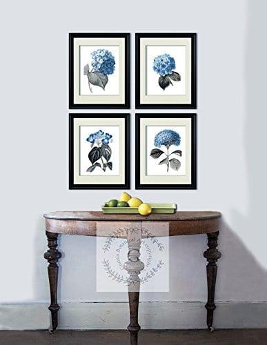 Blue Flowers Botanical Prints Set Of 4 Unframed Hydrangeas Botanical Art Prints Farmhouse Decor BlueHydrangea4A 0 0