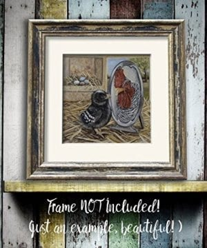 Chicken Artwork Print Farmhouse Rooster Kitchen Art Wall Decor 8x8 Inch Matted Fits 11x14 Frame 0 1 300x360