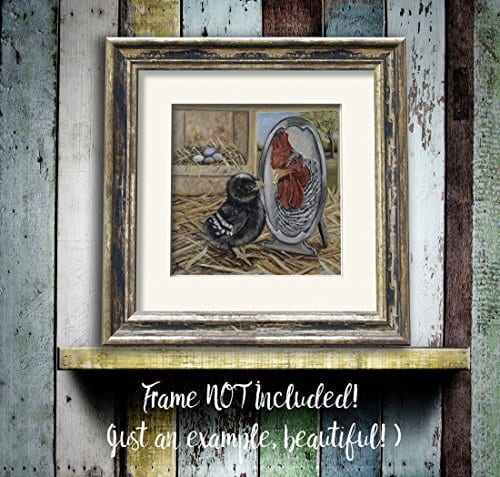 Chicken Artwork Print Farmhouse Rooster Kitchen Art Wall Decor 8x8 Inch Matted Fits 11x14 Frame 0 1