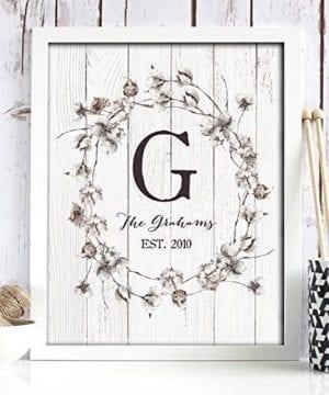 Cotton Monogram Paper Art Print Personalized Home Decor Wedding Gift Housewarming Gift Rustic Decor Farmhouse Decor Wall Decor Shiplap Paper Print 0 0 300x360