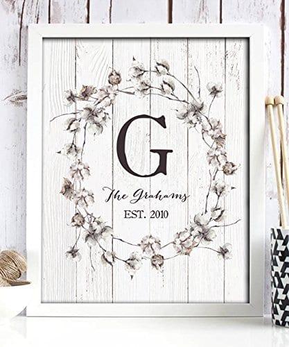 Cotton Monogram Decor Personalized Home Wedding Gift Housewarming Rustic Farmhouse Wall Shiplap Paper Print
