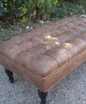 Pleasant Design 59 Inc Large Vegan Leather Tufted Ottoman Footstool Upholstered Coffee Table 46X24 Dailytribune Chair Design For Home Dailytribuneorg