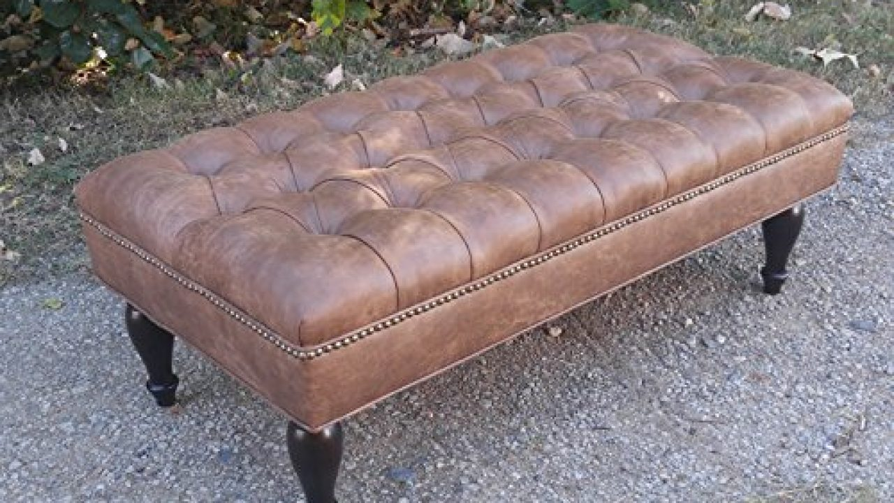 Picture of: Design 59 Inc Large Vegan Leather Tufted Ottoman Footstool Upholstered Coffee Table 46 X24 Farmhouse Goals