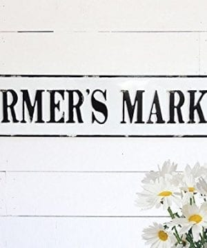 Embossed Metal Farmers Market Sign Rusic Farmhouse Antique White Decor 0 300x360