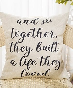 Fahrendom And So Together They Built A Life They Loved Farmhouse Style Sign Cotton Linen Home Decorative Throw Pillow Case Cushion Cover With Words For Sofa Couch 18 X 18 In 0 0 300x360