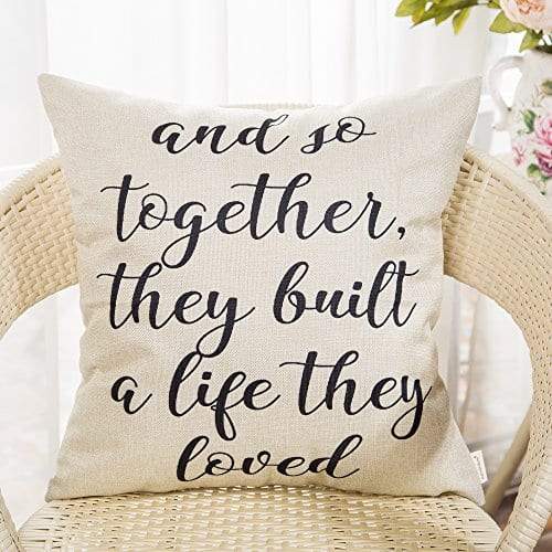 Fahrendom And So Together They Built A Life They Loved Farmhouse Style Sign Cotton Linen Home Decorative Throw Pillow Case Cushion Cover With Words For Sofa Couch 18 X 18 In 0 0
