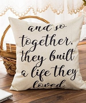 Fahrendom And So Together They Built A Life They Loved Farmhouse Style Sign Cotton Linen Home Decorative Throw Pillow Case Cushion Cover With Words For Sofa Couch 18 X 18 In 0 1 300x360