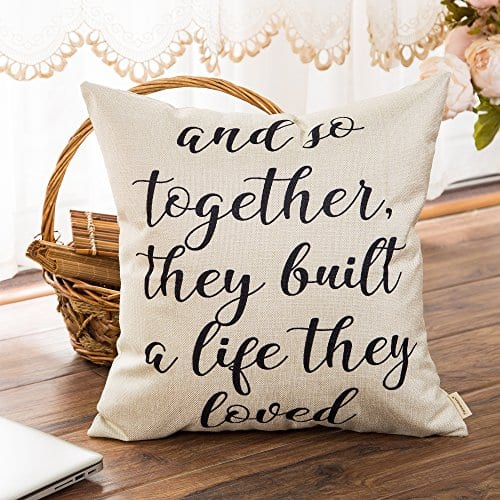 Fahrendom And So Together They Built A Life They Loved Farmhouse Style Sign Cotton Linen Home Decorative Throw Pillow Case Cushion Cover With Words For Sofa Couch 18 X 18 In 0 1