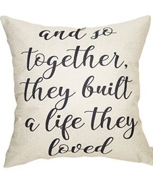 Fahrendom And So Together They Built A Life They Loved Farmhouse Style Sign Cotton Linen Home Decorative Throw Pillow Case Cushion Cover With Words For Sofa Couch 18 X 18 In 0 300x360