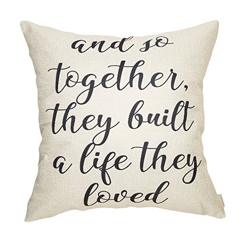 Fahrendom And So Together They Built A Life They Loved Farmhouse Style Sign Cotton Linen Home Decorative Throw Pillow Case Cushion Cover With Words For Sofa Couch 18 X 18 In 0