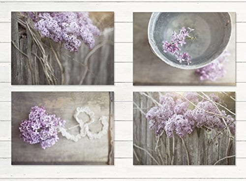Farmhouse Decor 4 PRINT SET 8x10 Lilacs Country Decor Rustic Wall Art Country Print Set Of 4 Rustic Country Landscape Prints Or Canvases Farm Art Fixer Upper Wood Plank Photo 0