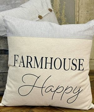 Farmhouse Happy Pillow Cover 18 X 18 Farmhouse Style Ticking Stripe Accent 0 300x360