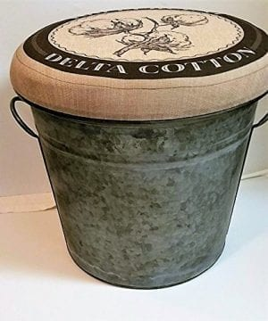 Glory Grace 100 Cotton Linen Padded Top Hinged Galvanized Bucket Ottoman Storage Foot Stool 0 300x360