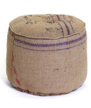 Go Home 11736 Vintage Farmhouse Collection Sack Ottoman Recycled Burlap With Print Material 0 300x357