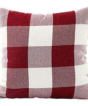 Jinbeile Retro Classic Farmhouse Tartan Checkers Plaids Cotton Linen Square Throw Pillow Cover Decorative Pillowcase Cushion For Sofa Bedroom 18x18 Inch 0 300x360