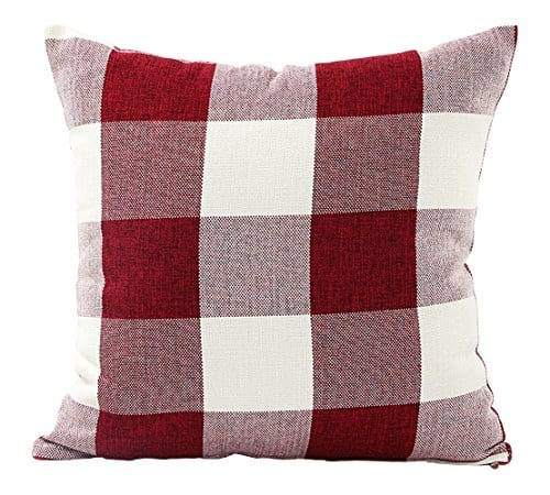Jinbeile Retro Classic Farmhouse Tartan Checkers Plaids Cotton Linen Square Throw Pillow Cover Decorative Pillowcase Cushion For Sofa Bedroom 18x18 Inch 0
