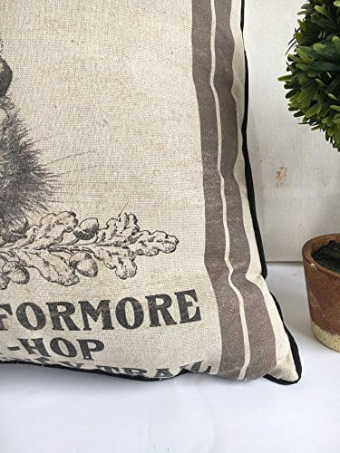 JuniperLab Farmhouse Bunny Vintage Easter Retro Primitive Old Feed Sack Cotton Linen Throw Pillow Covers Rabbit Hare Cushion Cover Shams 16 Square French Country Shabby Chic 0 1