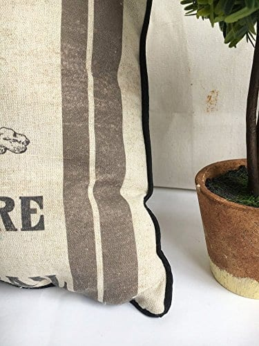 JuniperLab Farmhouse Bunny Vintage Easter Retro Primitive Old Feed Sack Cotton Linen Throw Pillow Covers Rabbit Hare Cushion Cover Shams 16 Square French Country Shabby Chic 0 2