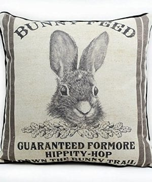 JuniperLab Farmhouse Bunny Vintage Easter Retro Primitive Old Feed Sack Cotton Linen Throw Pillow Covers Rabbit Hare Cushion Cover Shams 16 Square French Country Shabby Chic 0 3 300x360